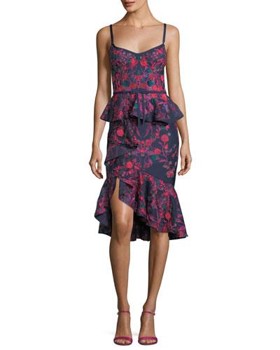 Floral-Print Scuba Ruffle Sheath Cocktail Dress
