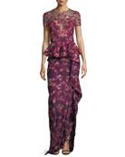 Floral Scuba-Knit Peplum Gown