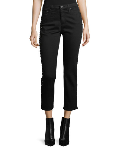 Isabelle Straight-Leg Cropped Jeans with Studded Trim