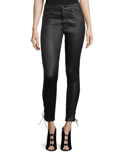Farrah Ankle Side-Lace Faux-Leather Pants