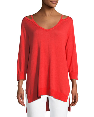 Open V-Neck Easy Sweater Tunic, Petite