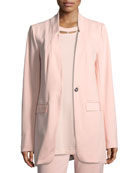 Joan Vass Boyfriend Blazer w/ Grosgrain Detail and
