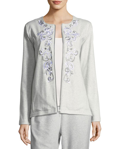 Embroidered Zip-Front Jacket