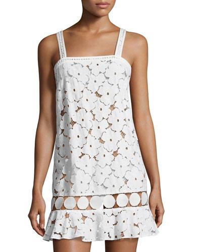 Adi Circle-Trim Lace Coverup Dress