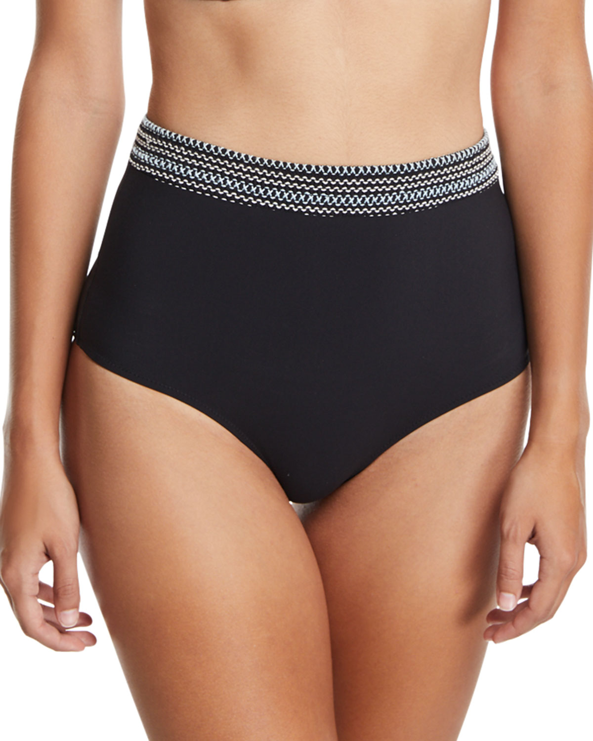 High-Waist Smocked-Band Swim Bottoms Black