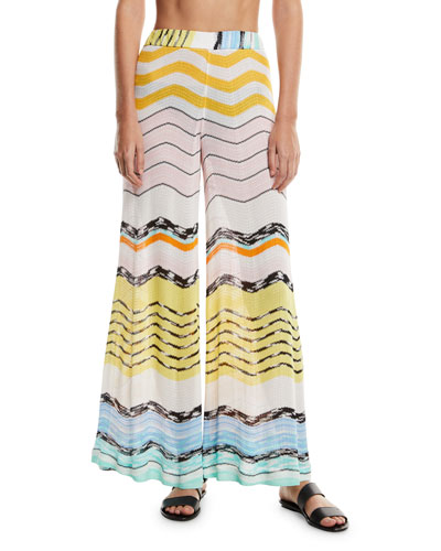 Zigzag Wide-Leg Coverup Pants