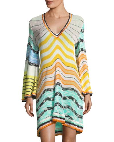Long-Sleeve Coverup Beach Dress