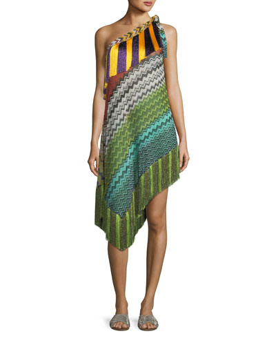 Fringe-Trim Short Asymmetric Beach Dress