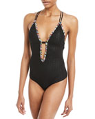 Plunging Textured One-Piece Swimsuit with Multicolor Piping