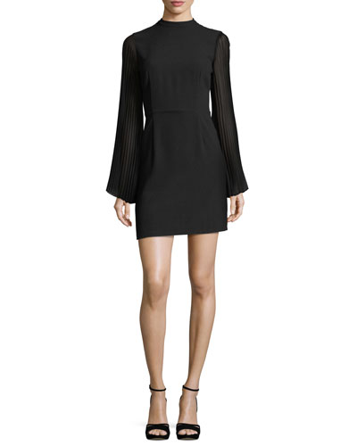 Yasmina Mock-Neck Pleated-Sleeve Sheath Crepe Dress