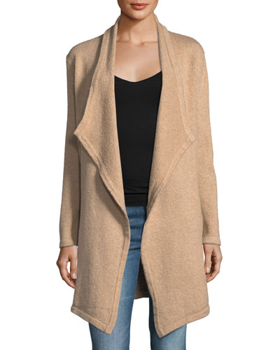 Sahar Open-Front Long-Sleeve Cotton-Blend Cardigan