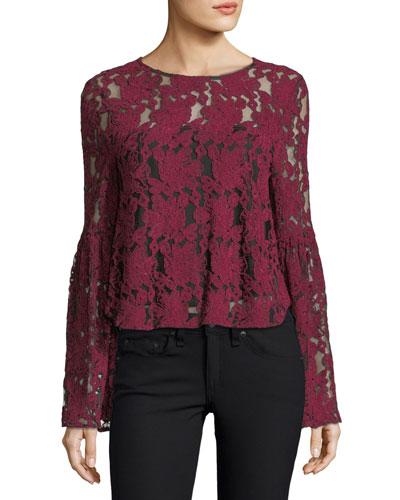 Florent Crewneck Bell-Sleeve Lace Blouse