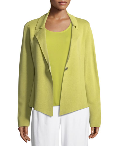 Silk-Blend Interlock Short Jacket, Petite