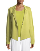 Silk-Blend Interlock Short Jacket, Plus Size