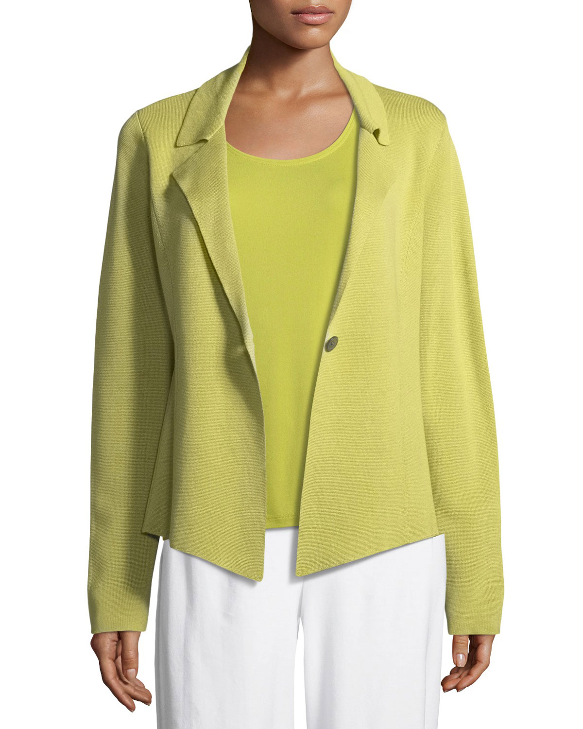 Silk-Blend Interlock Short Jacket, Plus Size