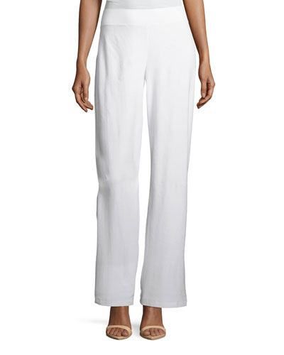 Washable Stretch Crepe Modern Wide-Leg Pants, Petite