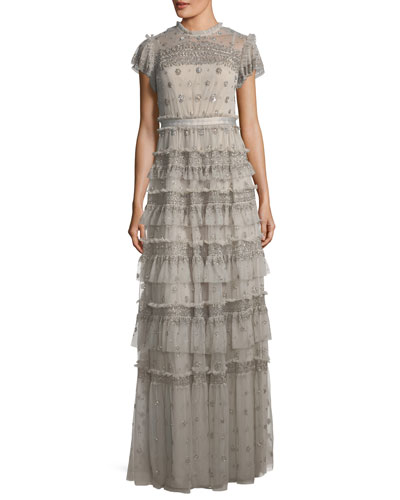 Andromeda Cap-Sleeve Tiered Embellished Evening Gown