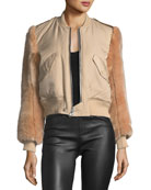 Faux-Fur Zip-Front Bomber Jacket