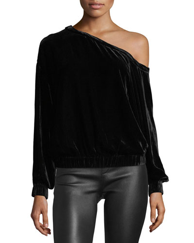 One-Shoulder Long-Sleeves Velvet Top