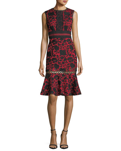 Trudi-B Sleeveless Floral-Embroidered Dress with Grommet Trim