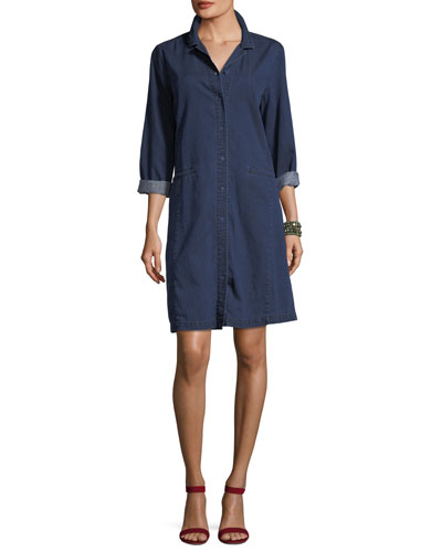 Tencel® Organic Cotton Denim Collared Dress, Petite