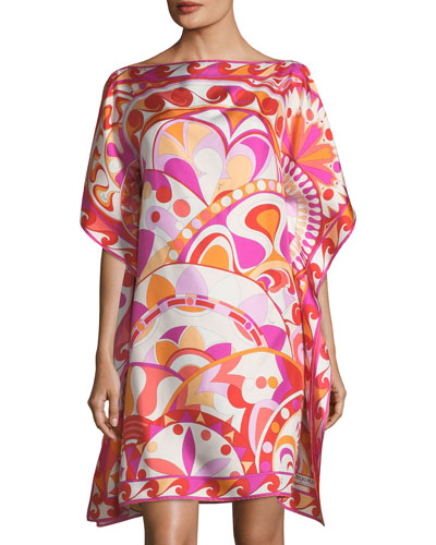 Short-Sleeve Printed Silk Coverup Dress
