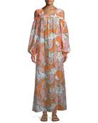 Natsri-Baby Printed Off-the-Shoulder Cotton-Silk Maxi Dress