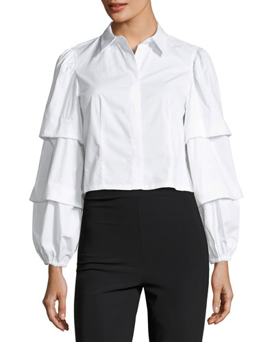 Gislah Tiered-Sleeves Button-Front Cropped Oxford Top
