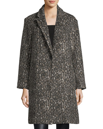 Millennie One-Button Leopard-Print Coat