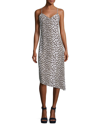 Paz Sleeveless V-Neck Slim Printed Midi Dress