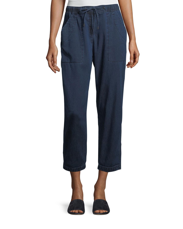 Slouchy Denim Drawstring Ankle Pants, Plus Size