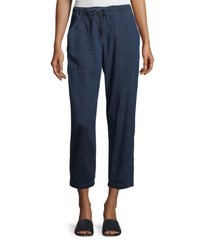 Slouchy Denim Drawstring Ankle Pants, Petite