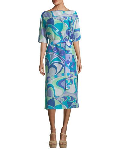 Short-Sleeve Boat-Neck Printed Midi Dress