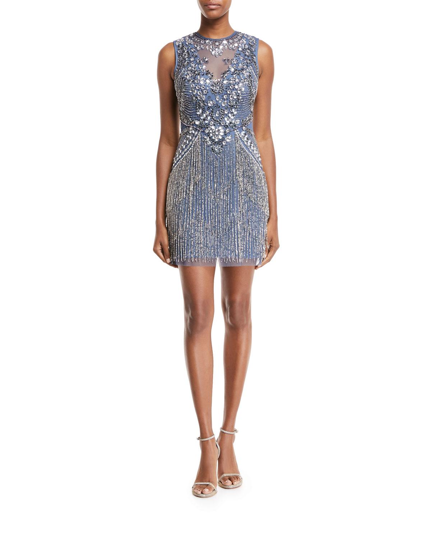 Beaded V-Neck Illusion Dress w/ Fringe Skirt
