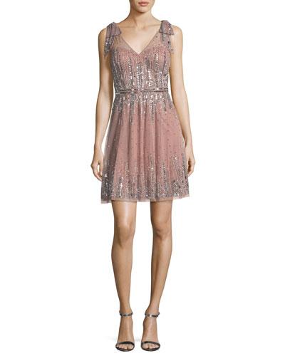 Embellished A-Line Mini Dress
