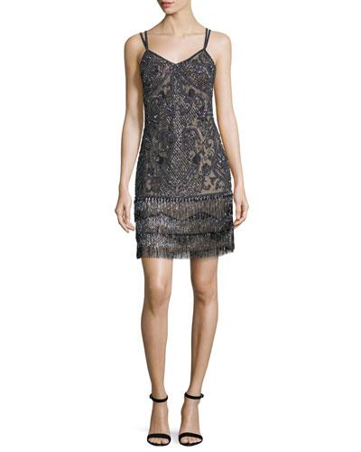 Beaded Fringe Embellished Cocktail Dress
