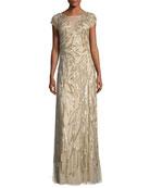 Embellished Leaf-Motif Short-Sleeve Gown