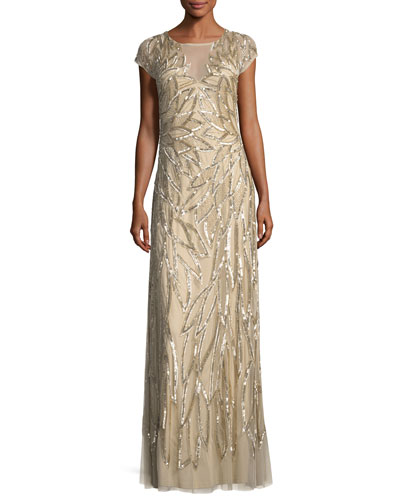 Embellished Leaf-Motif Short-Sleeve Gown