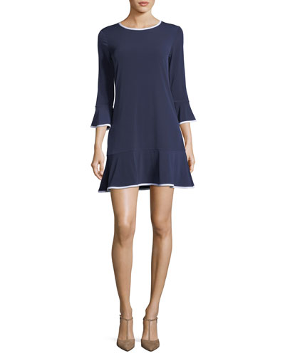 Contrast-Trim Solid Flounce Dress