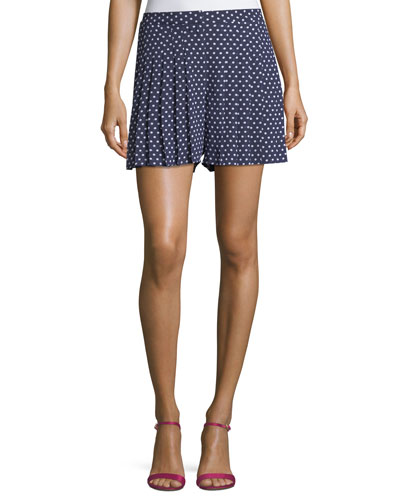 Dot-Print Pleated Shorts