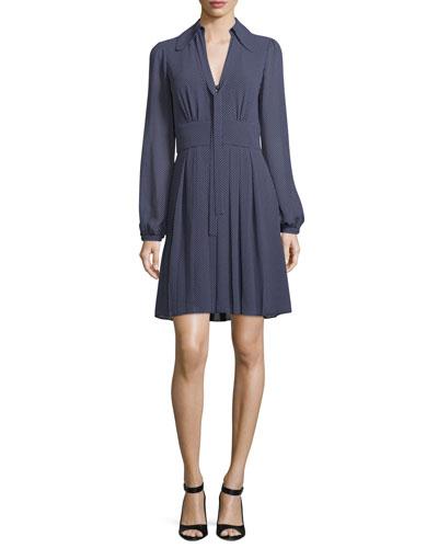 Mini-Dot Long-Sleeve Dress