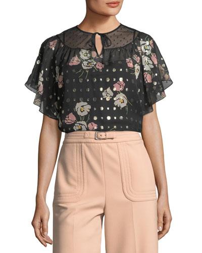 Poppy Floral-Print Silk-Blend Blouse