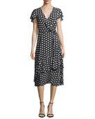 Simple Dot Wrap Dress