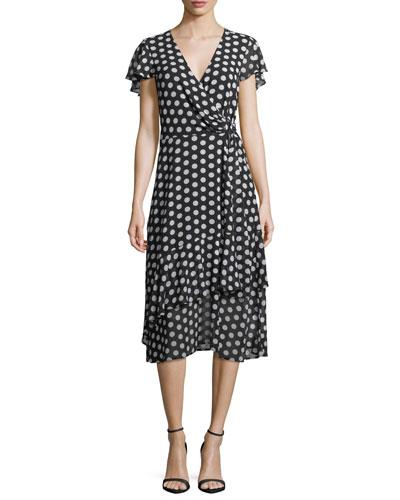 Simple Dot Wrap Dress