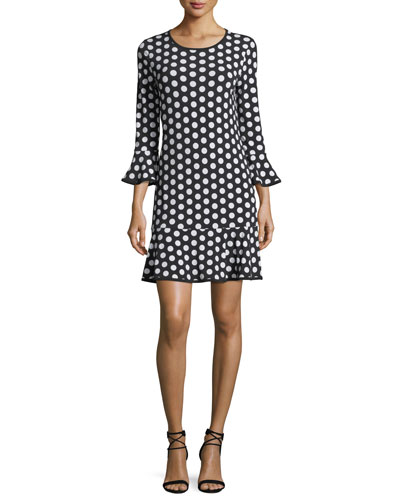 Simple Dot Flounce Shift Dress