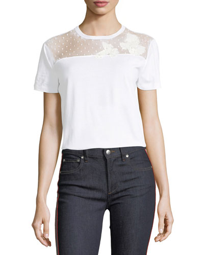 Black Point D'Esprit And Cotton T-Shirt