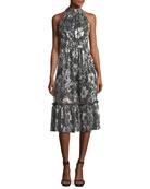 Metallic-Knit Tiered Midi Dress