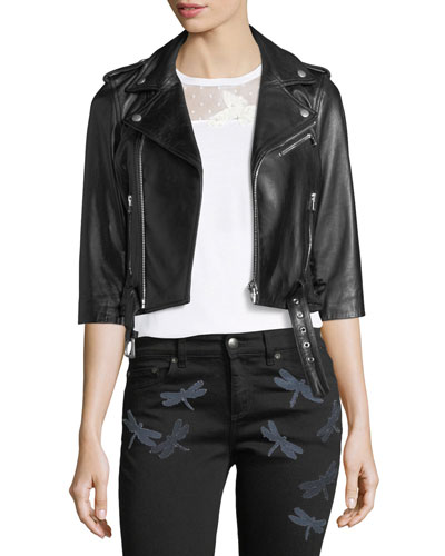3/4-Sleeve Dragonfly Leather Moto Jacket in Black