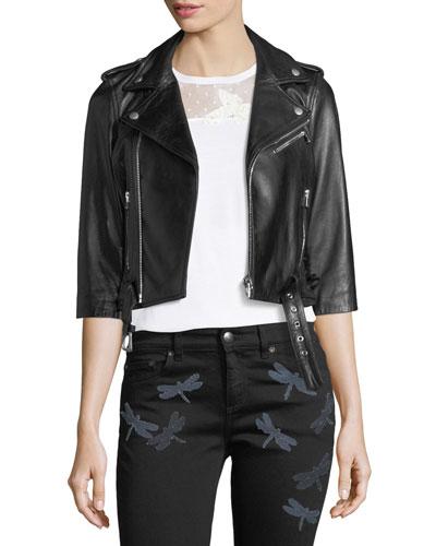 3/4-Sleeve Dragonfly Leather Moto Jacket, Nero