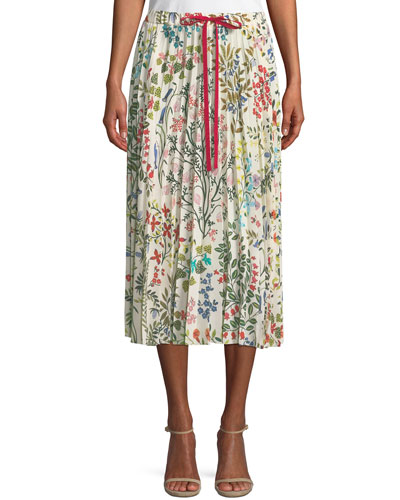 Pleated Floral-Print Midi Skirt